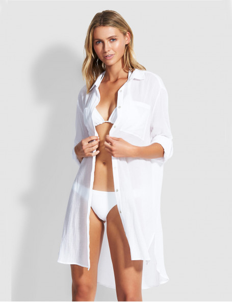 Рубашка длинная Seafolly белая