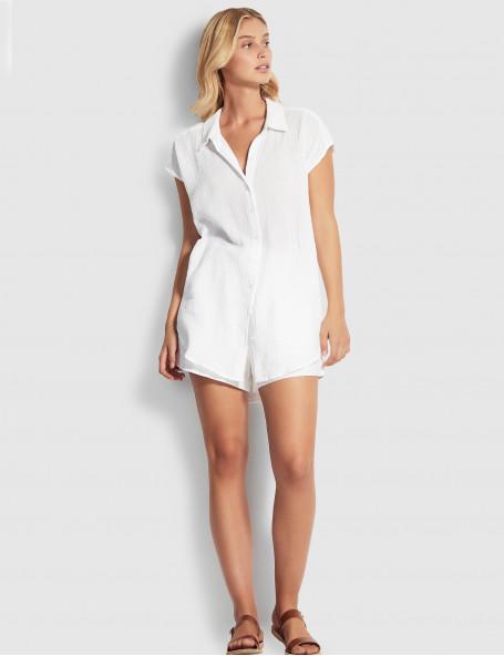 Рубашка с коротким рукавом Seafolly белая